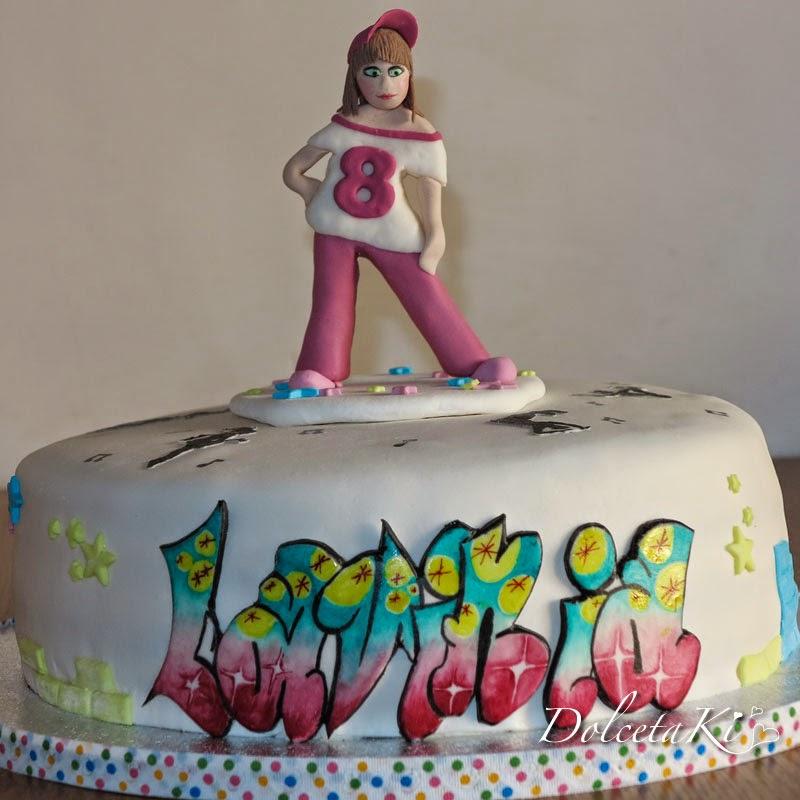 torta hip hop bambolina graffiti