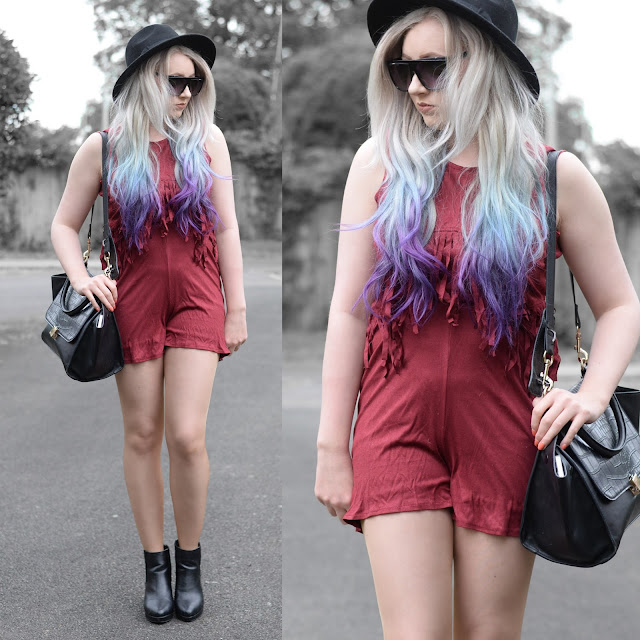 Sammi Jackson - Burgundy Fringes / Choies Faux Suede Fringed Playsuit