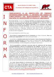 TRASLADAMOS A LA INSPECCIÓN DE TRABAJO INFORMACIONES SOBRE EL INFORME DEL GRADO DE CUMPLIMIENTO DEL