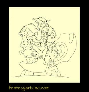How to draw a Wow tauren warrior video games art