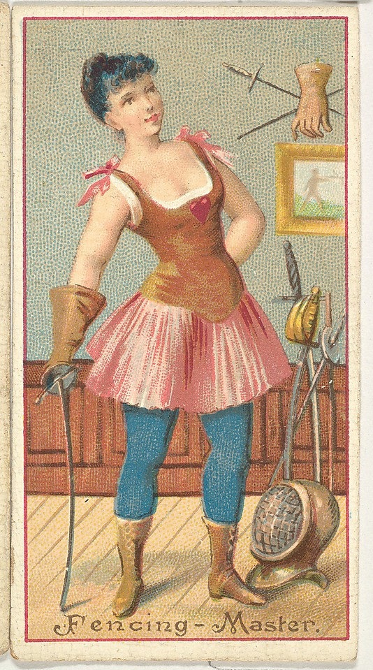 "Fencing Master. Vintage tobacco card ""Occupations For Women"", via ellomennopee"
