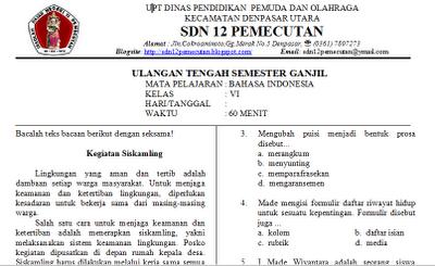 Mudiartana Made Soal Soal Uts Kelas 1 6 Sd Ipa Matematika Bahasa Indonesia Pkn Ips Bahasa