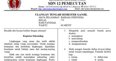 Soal Soal Uts Kelas 1 6 Sd Ipa Matematika Bahasa Indonesia Pkn Ips Bahasa Bali Agama
