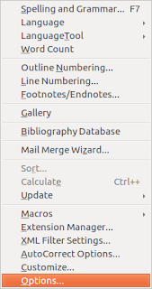 Libreoffice options