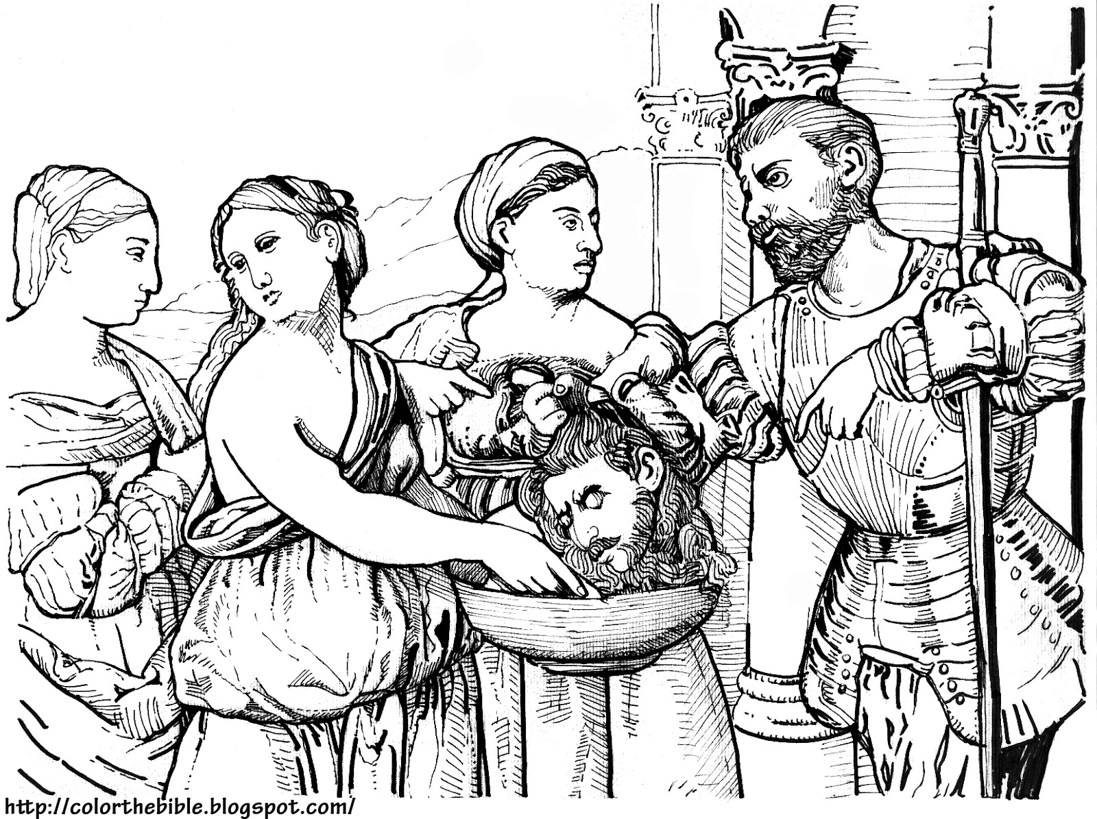 Free coloring pages john the baptist - Description Of Coloring Page The Evil Of Mankind Made Obvious Herod And Herodias Holding The Head Of The Baptist John The Baptist Martyred