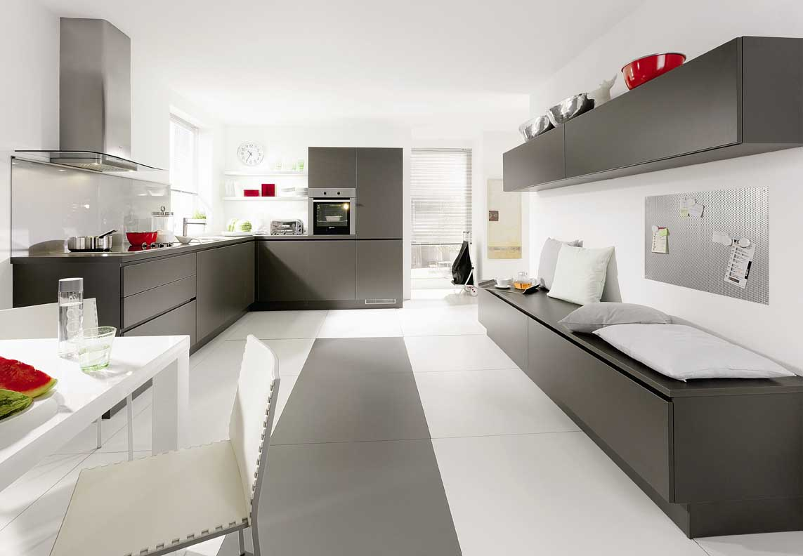 Grey and White Modern Kitchen Cabinets