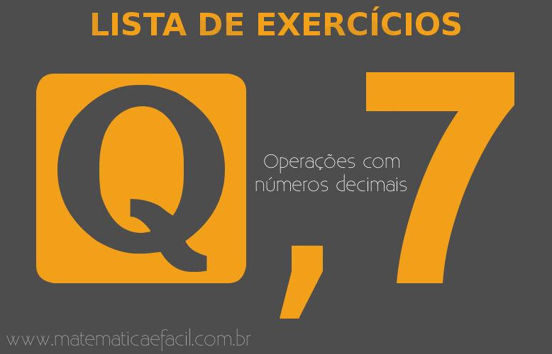 Exercícios sobre números Racionais: Decimais