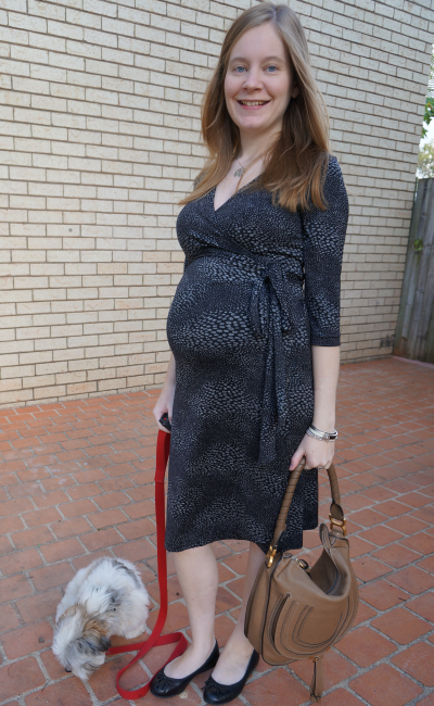 Soon Maternity Madeline Print Wrap Dress worn in 3rd trimester professional office wear