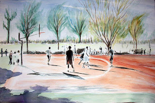 basketball, watercolor, streetball, ballers, park, pickup game