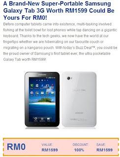 Peluang dapat Samsung Galaxy Tab 3G free..