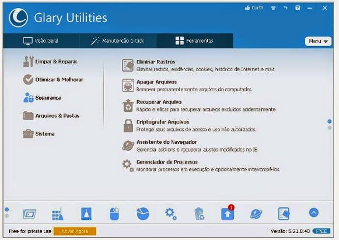 Opção Segurança do Glary Utilities traz recursos indispensáveis para a privacidade dos arquivos e pastas