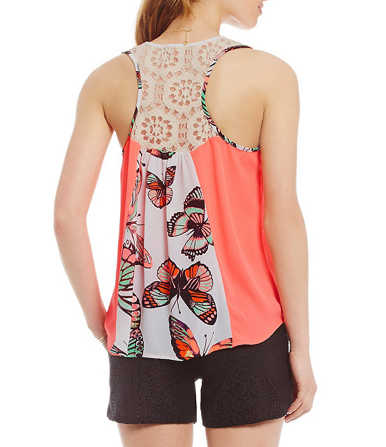 Butterfly print back of tank top