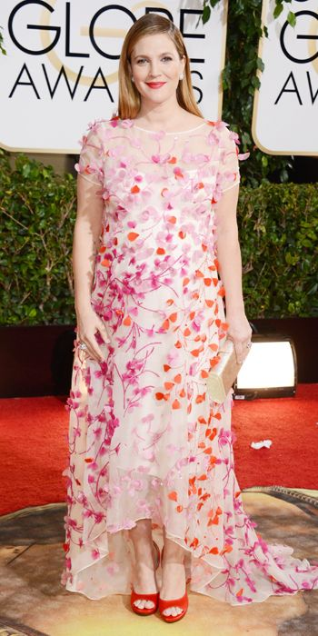 Drew Barrymore in a colorful floral Monique Lhuillier dress at the 2014 Golden Globe Awards