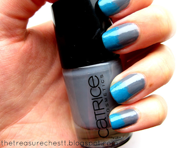 Rimmel 60 Seconds Sky High Catrice London's Weather Forecast gradient sponge nails swatch