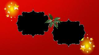Moldura red 2 fotos estrelas e azevinho png