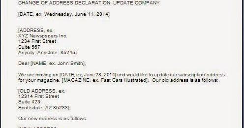 company change of address letter