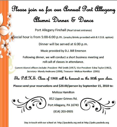 9-15 Port Alleghany Alumni Dinner & Dance