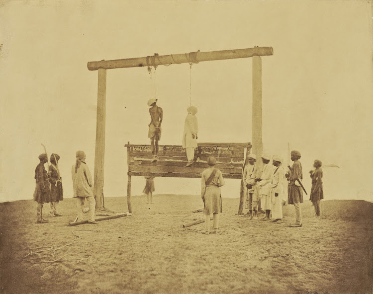 The Hanging of Two Rebels, the Indian Mutiny - Albumen silver print, 1858