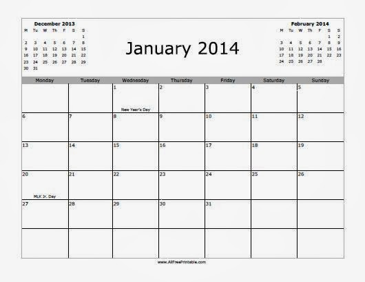 3 Months Of January 2014 Calendar Printable Calendar 2014 Blank