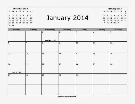 3 Months Of January 2014 Calendar Printable Calendar 2014 Blank