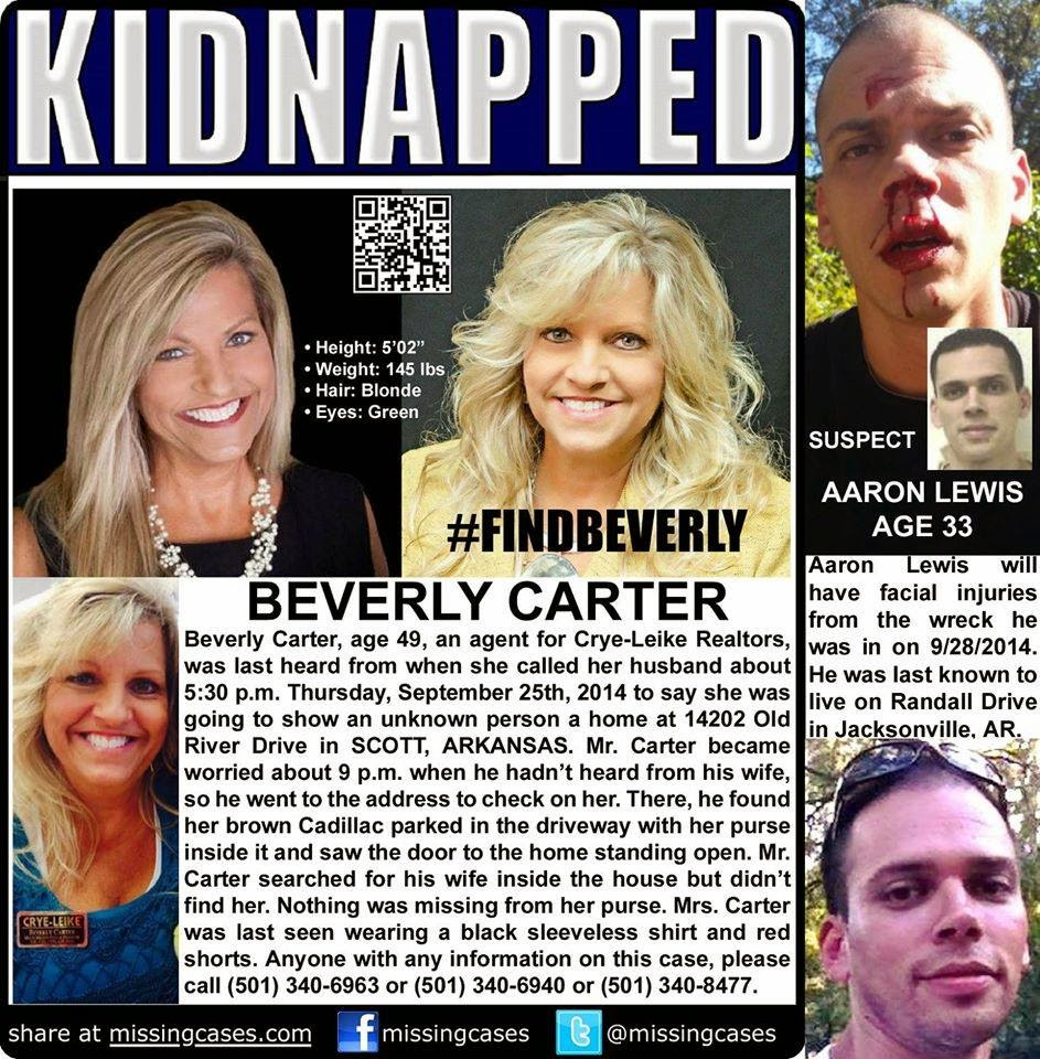 Beverly Carter was abducted from Scott, AR on Thursday, September 25 approximately 5:30pm.