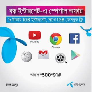 Grameenphone (GP) 9Tk 1GB+1GB 3G internet special offer