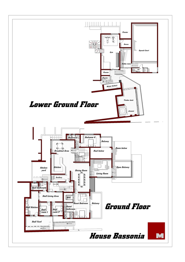 Mansion floor plans of the ground floor