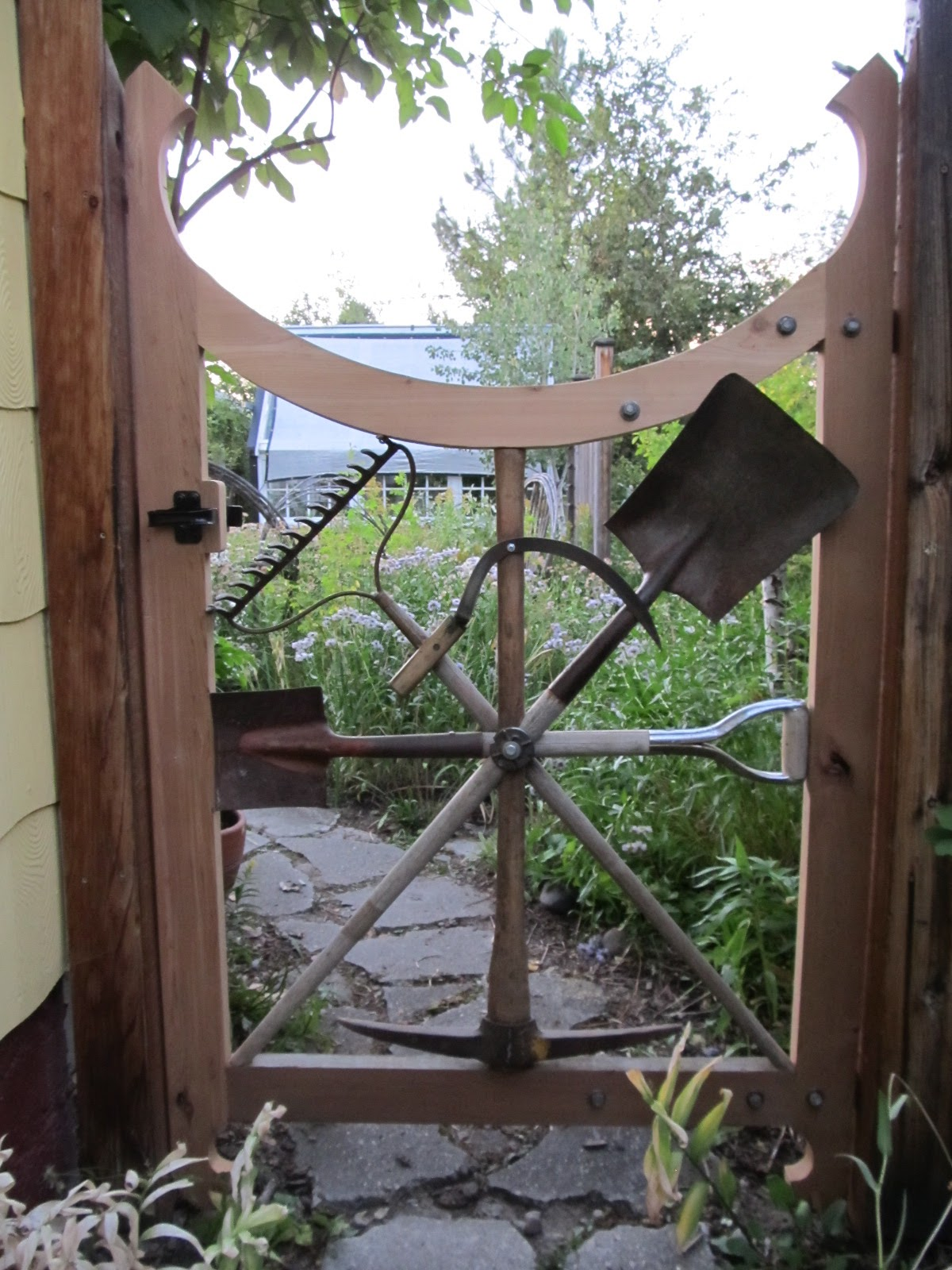 Montana wildlife gardener a repurposed garden tool for Diy fence gate designs