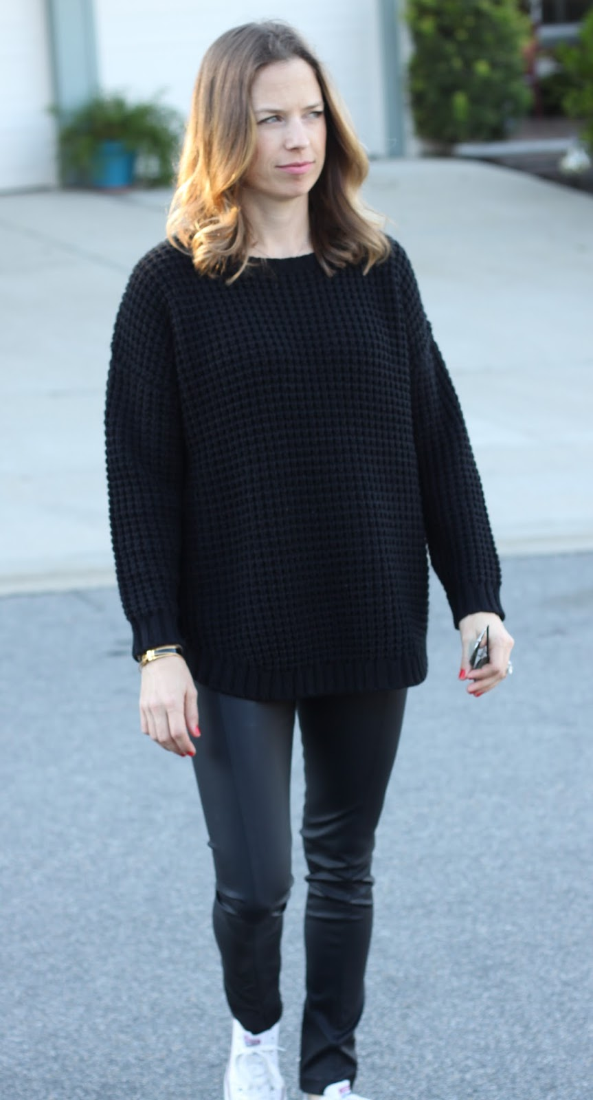 black sweater and legging