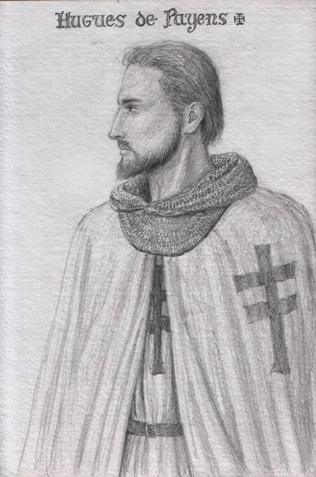 Hugo de Payens 1118 - 1136. Lider del grupo que fundó la Orden y primer Gran Maestre de la misma.