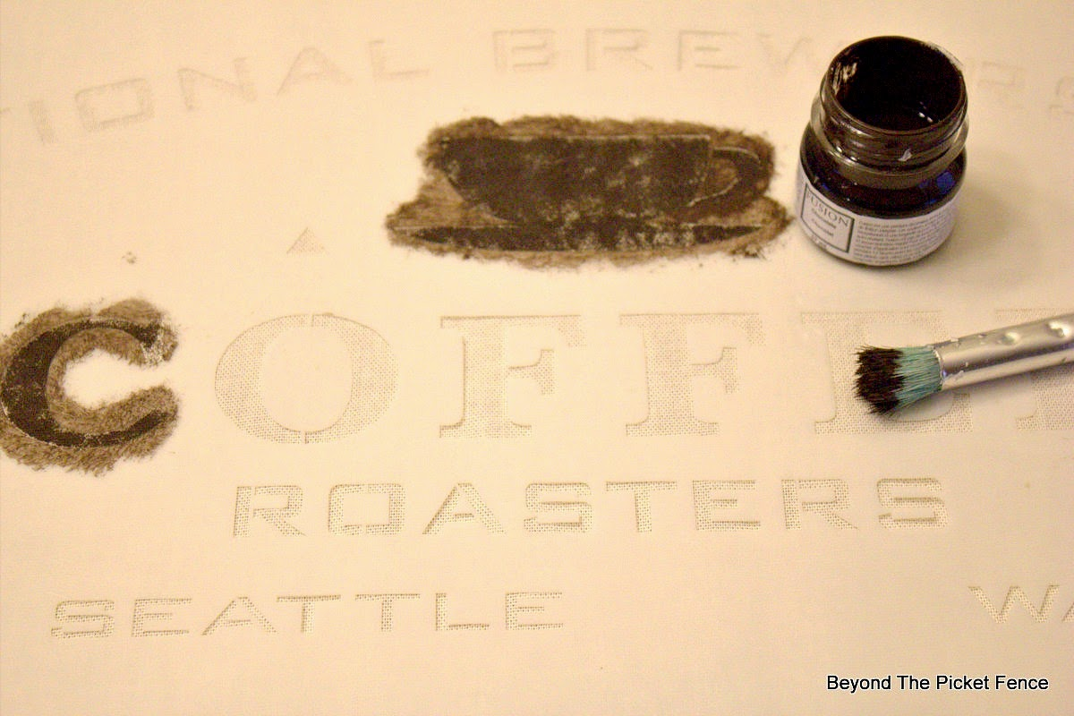 coffee sign stencils, pillow, paint, beyond the picket fence, http://bec4-beyondthepicketfence.blogspot.com/2015/03/project-challenge-linenleather-fabric.html