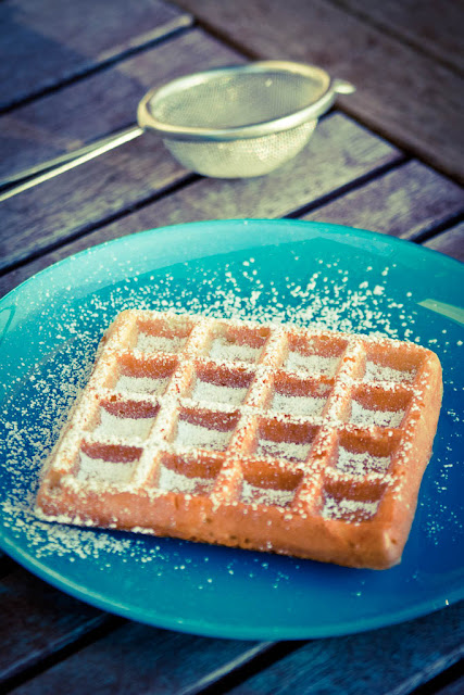waffles dusted with icing sugar