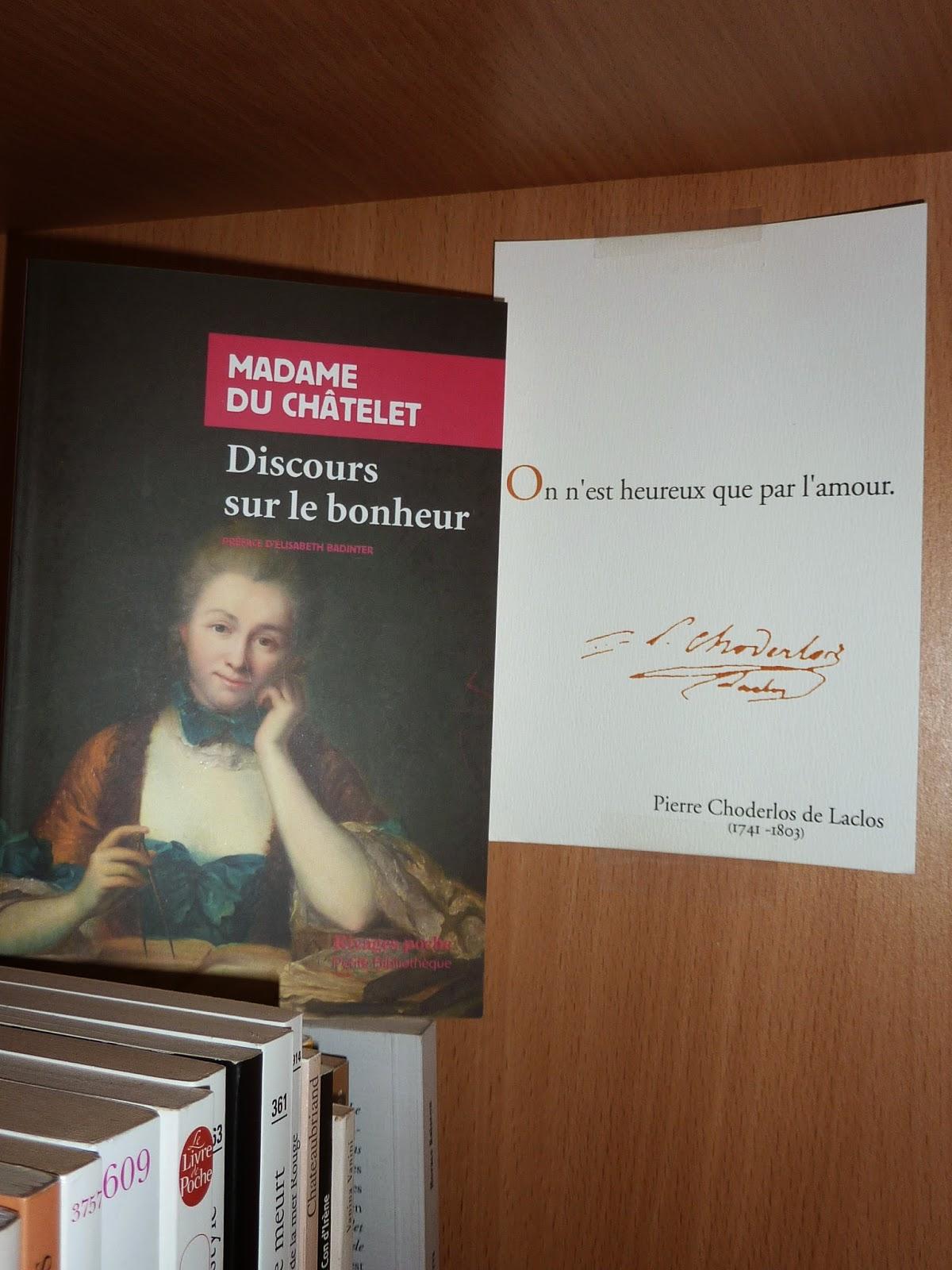 Mon salon litt raire discours sur le bonheur madame du for Salon de the chatelet