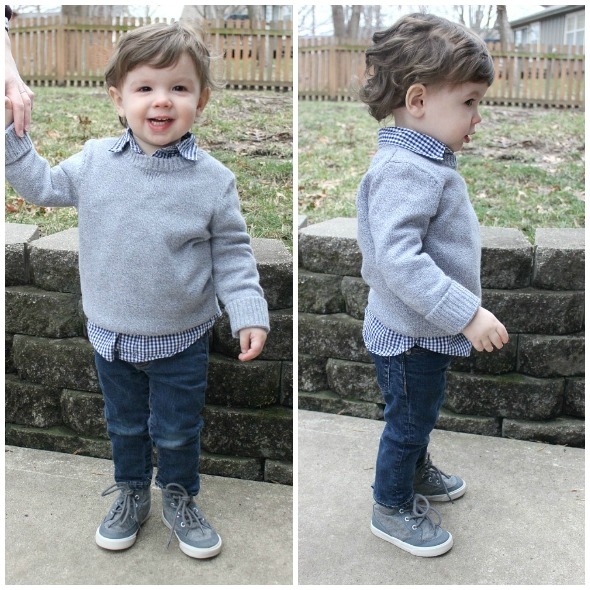 Layered sweater look for toddler boy | www.shealennon.com