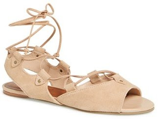 Bernardo nude flat sandals with lace cords