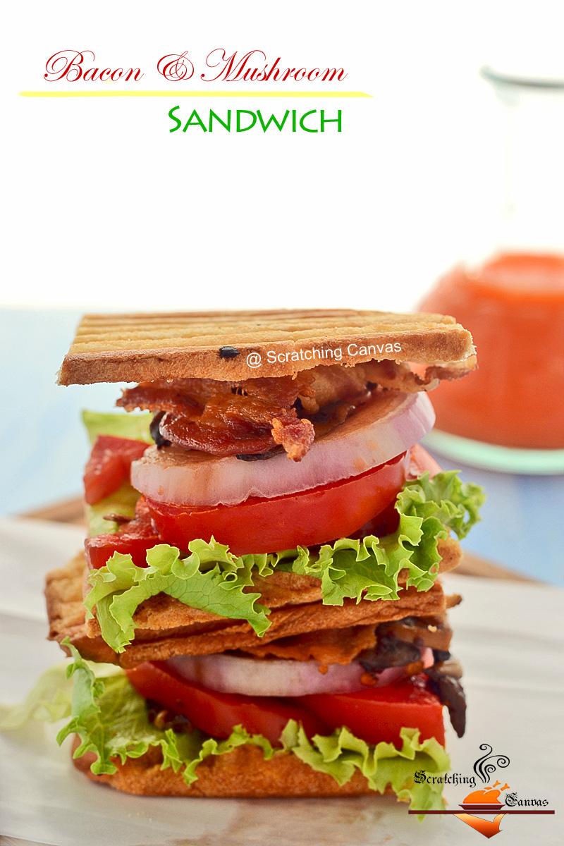 Homemade Bacon Mushroom Sandwich