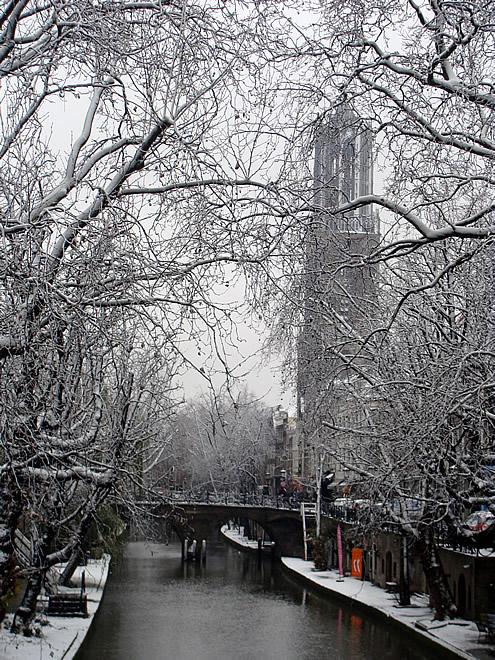 Utrecht Dom Sneeuw