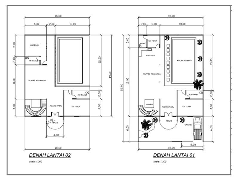 Khusnul Desain  Denah Rumah 15 X 25 M2 Tingkat