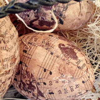 Music Page Eggs, Not Just Paper and Glue, Paper Mache, Music, Decoupage, spring, tutorial