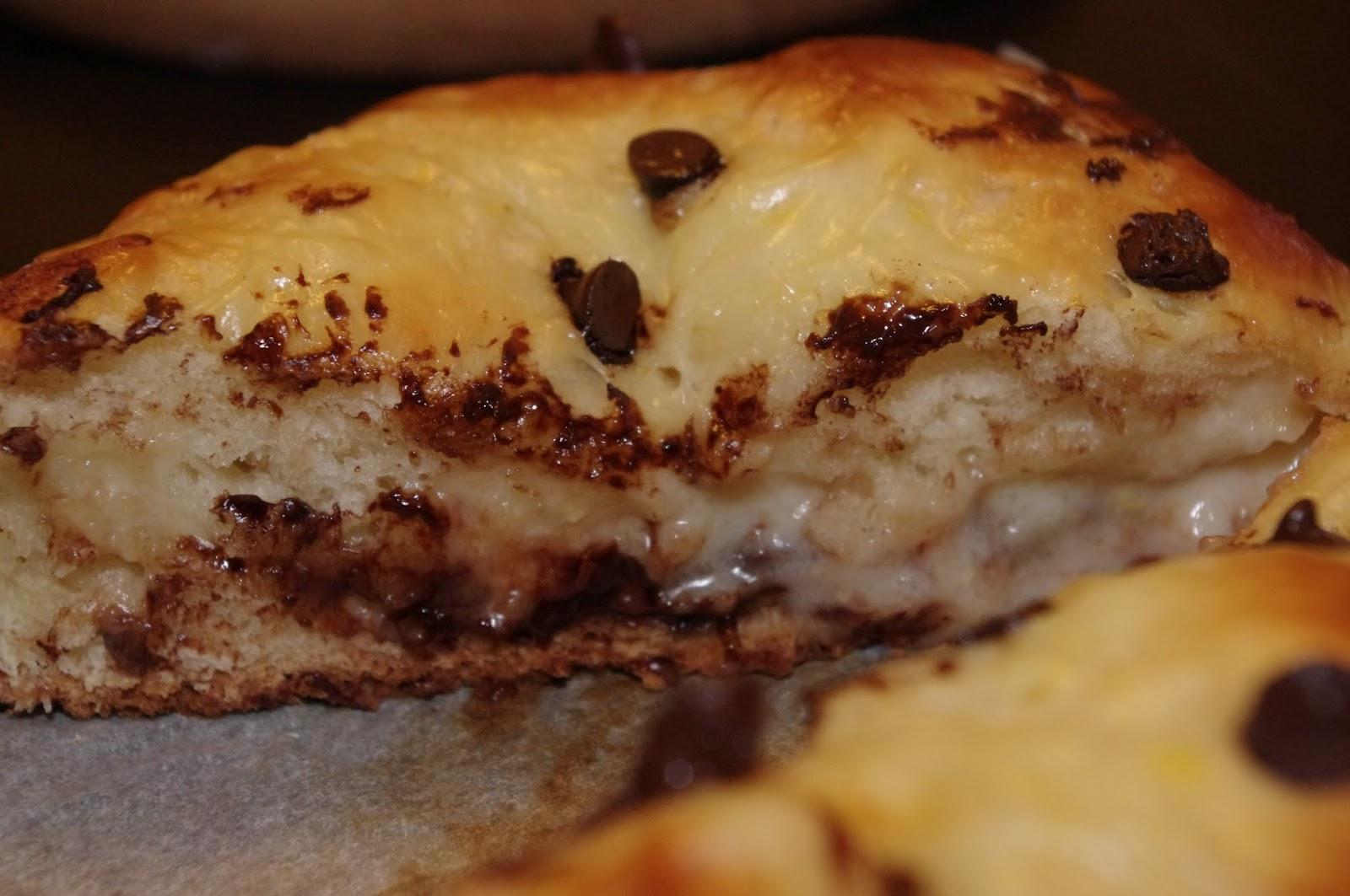 Brioche crème pâtissière pépites de chocolat