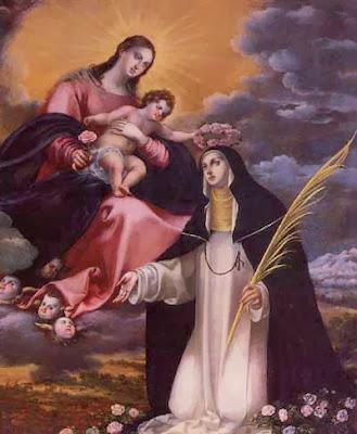 En la Imagen Santa Rosa de Lima Recibiendo una Corona de Rosas del Niño Jesís