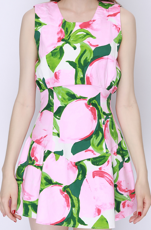 Peach Print Ribbon Tie-Back Dress