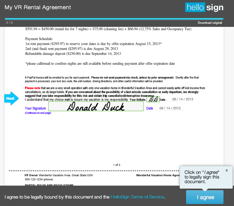 How to use Electronic Signatures with your Vacation Rental – Vacation Rental Agreement Example