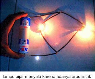 lampu pijar menyala akibat arus listrik