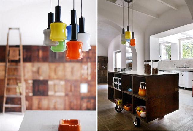 diseño interior en un loft con cajas de madera -mueble ruedas