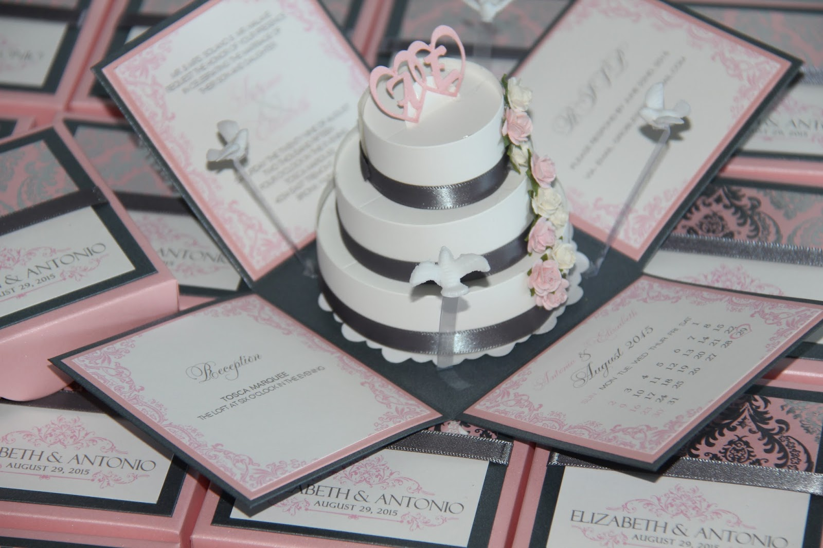 Jinky's Crafts & Designs: Pink and Gray Modern Wedding Invitations - Exploding Box Pop-Up Invites