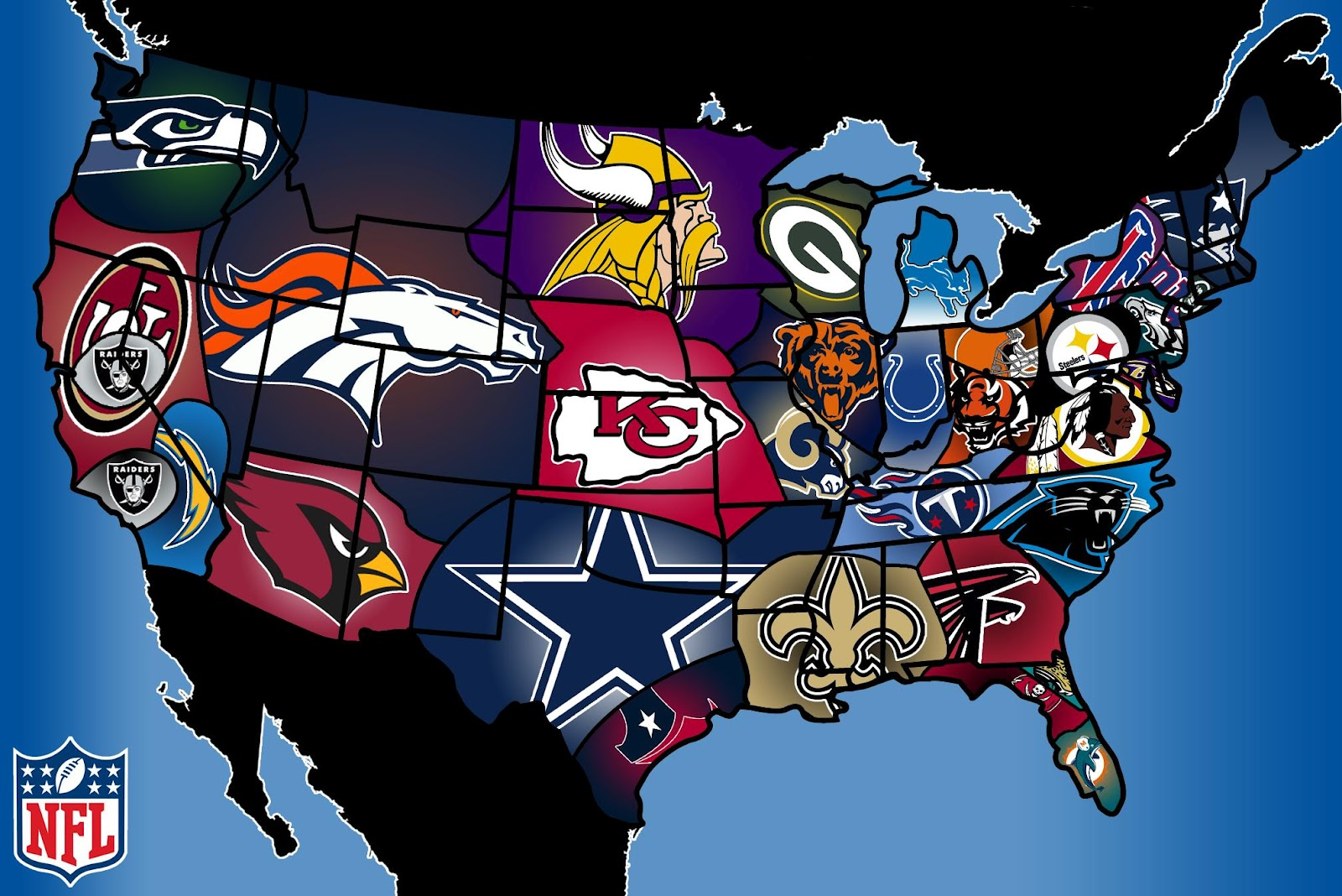 Wallpaper Of The Day: NFL Fan Map - Common Sense Evaluation