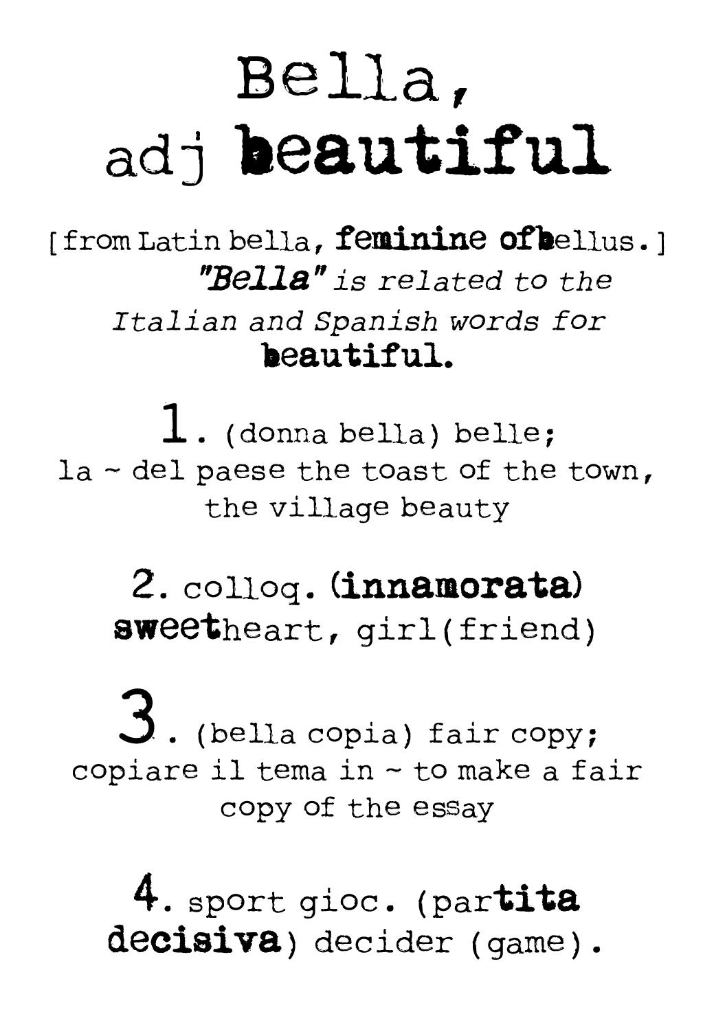 bella dictionary