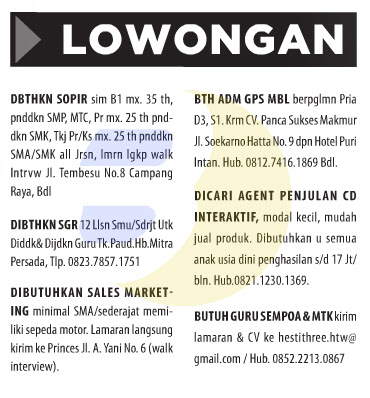 Lowongan Kerja Baris Lampung Post 13 Juni 2015
