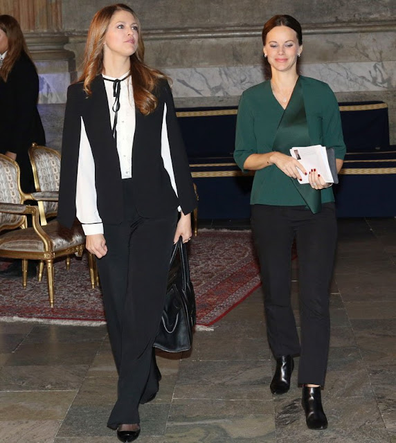 Princess Madeleine of Sweden and Princess Sofia Hellqvist of Sweden attended the Global Child forum at the Royal palace in Stockholm